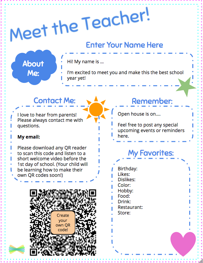 Free Meet The Teacher Template